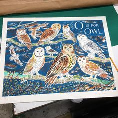 'O is for Owl' by Emily Sutton. Editioned at the Penfold Press