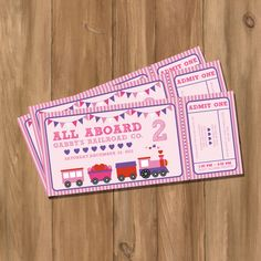 Choo Choo Train Ticket Birthday Party Invitation - Pink - Girls (Digital - DIY). $10.00, via Etsy.