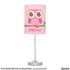 Cute Girly Pink Owl on Branch Girls Room Decor Table Lamp