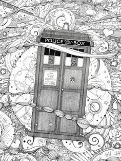 Dr Who Doodle Coloring pages colouring adult detailed advanced printable Kleuren voor volwassenen coloriage pour adulte anti-stress kleurplaat voor volwassenen Line Art Black and White http://hannahchapman.deviantart.com/art/Timey-Wimey-458975873