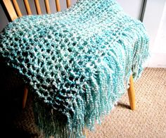 Crocheted Afgahn Throw Blanket  with Fringe- Seaform Green, Mint Green,  Off White, Blanket,  Home Decor,  Interior Design Ready To Ship on Etsy, $115.00