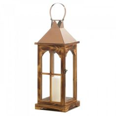 New Arrival: Large Rose Gold Wooden Lantern - Rustic wood and chic rose gold stainless steel makes this lantern a gorgeous addition to any space.