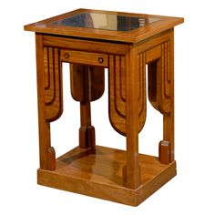Lemonwood & Palisander Secessionist Side Table with Mirrored Top  Hungary  1900
