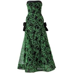 Preowned 1980s Scaasi Strapless Neon Green Velvet On Black Net Evening... ($1,400) ❤ liked on Polyvore featuring dresses, gowns, green, velvet evening gown, strapless cocktail dresses, evening gowns, strapless evening gown and floral print evening gown