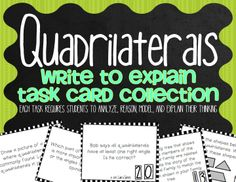 Task Cards designed to help you implement the Common Core Standards for Mathematical Practice in your classroom on a daily basis. Students will: Record the Question; Model and Solve; Record the Solution; Explain Their Reasoning