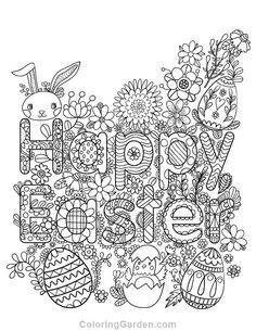 Free printable happy Easter adult coloring page. Download it in PDF format at http://coloringgarden.com/download/happy-easter-coloring-page/
