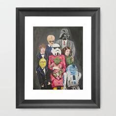 Star Wars family portrait 3 Framed Art Print by Steven Quinn - $32.00