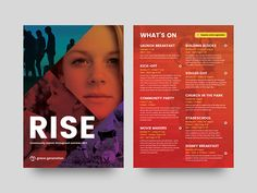 Rise Flyer whats on community northern ireland church brochure flyer print graphic design Brosure Design, Flyer Design, Graphic Design Print, Graphic Design Projects, Flyer Printing, Brochure Design Inspiration, Envelope Design, Northern Ireland, A5