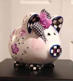 Hand Painted Piggy Bank by paintingbymichele on Etsy, $59.00