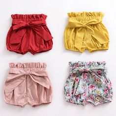 These super cute girls bow shorts have elasticated waist and legs and are available in four of gorgeous summer colours and prints. Material: Cotton Shipping: Expected delivery ideen for teens frauen shorts outfits Toddler Outfits, Boy Outfits, Little Girl Dresses, Girls Dresses, Bow Shorts, Modest Shorts, Floral Shorts, Nike Shorts, Jean Shorts