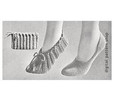 Knit Slippers Pattern 1950s Vintage Travel by DigitalPatternShop
