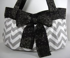 Large tote diaper bag from grey chevron with a by GAnnasBoutique