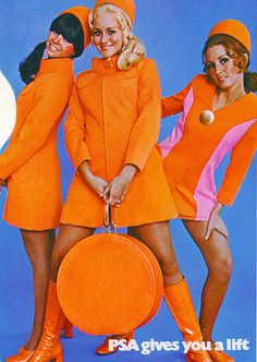 mod fashion Come fly with us! (via) ( Vintage PSA poster - retro air travel advertisement / mod stewardess / fashion / orange ) Sixties Fashion, Retro Fashion, Vintage Fashion, Twiggy, Patti Hansen, Lauren Hutton, Vintage Mode, Flight Attendant, Up Girl