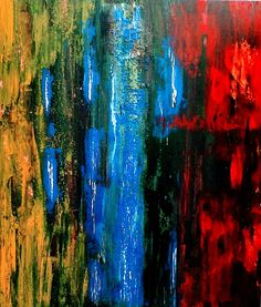 Zé Luiz Morais. Abstrata, acrylic on canvas, 80x70 cm, catálogo: AbstAcrCan3IanuariusXVII. Técnicas: camadas de tinta sobrepostas, aplicadas em bandas horizontais e verticais, esfregadas, borradas e raspadas; acabamento da superfície: textura predominante lisa. Instrumentos: espátula, desempenadeira emborrachada, rodo-de-mão.