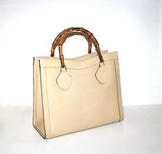 48e986a883b Vintage GUCCI Tote Bamboo Beige Leather Large by StatedStyle Vintage Gucci