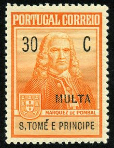 "St. Thomas and Prince Islands  1925 Scott RAJ1 30c orange & black ""Marquis de Pombal"" Postal Tax Due Pombal Issue"