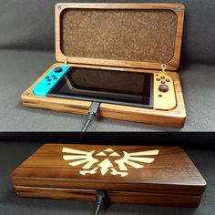 Nintendo Switch console case made of wood. Nintendo 3ds, Nintendo Switch Case, Mundo Dos Games, Nintendo Switch Accessories, Gaming Room Setup, Game Room Design, Gamer Room, 3d Prints, Legend Of Zelda