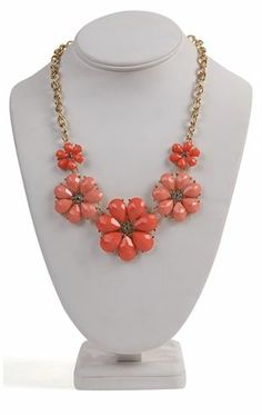Deb Shops Short #Statement #Necklace with Five Colored Flowers with Stone Centers $7.74