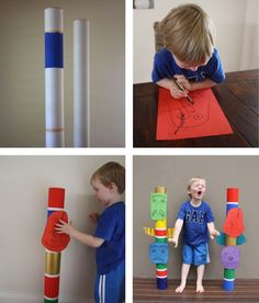 Kid's Totem Poles-- but change it up a little for cub scout-- make each rank part of the totem pole. Would be fun decoration for Blue and Gold