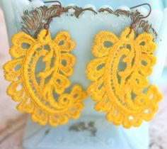 Vintage Yellow Lace Paisley Dangle Earrings by heathernn1 on Etsy, $23.00