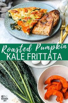This Roasted Pumpkin Frittata is the perfect easy recipe for breakfast, lunch, or dinner. Made with kale and goat's cheese it's a perfect veggie-loaded make-ahead meal. Spicy Pumpkin Soup, Roast Pumpkin, Pumpkin Recipes, Kale Frittata, Frittata Recipes, Vegetarian Comfort Food, Tasty Vegetarian Recipes, Make Ahead Meals, Easy Meals