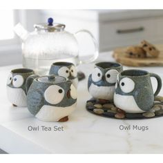 Owl tea set and mugs. Would be interesting made from felt.