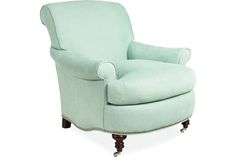 Master Bedroom in custom fabric/contrast welt // Lee Industries: 3053-01 Chair