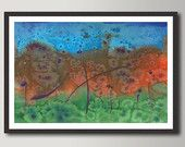 Abstract Print  Green Orange Blue Autumn Landscape -  Watercolor painting,  Modern Colorful Fine Art,  Gorgeous Art , High quality Print