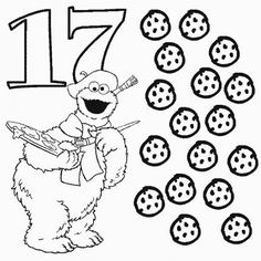 Number 9 and Telly with nine stars coloring page For Preschool