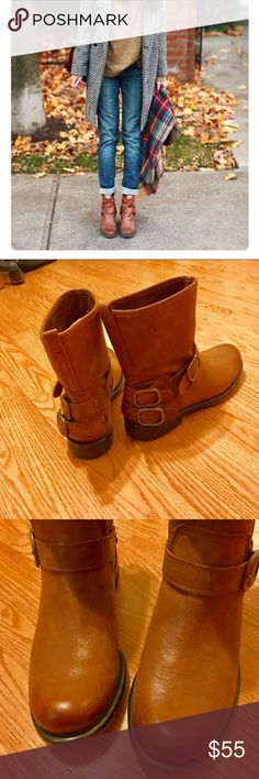 Lucky brand ankle buckle boots Low heel over the ankle boots. Camel brown colored leather with buckles and low heel. Wore once but I have way to many shoes. These are adorable with skirts, jeans or denim cutoff shorts! $160 new. My lose your gain! Lucky Brand Shoes Ankle Boots & Booties