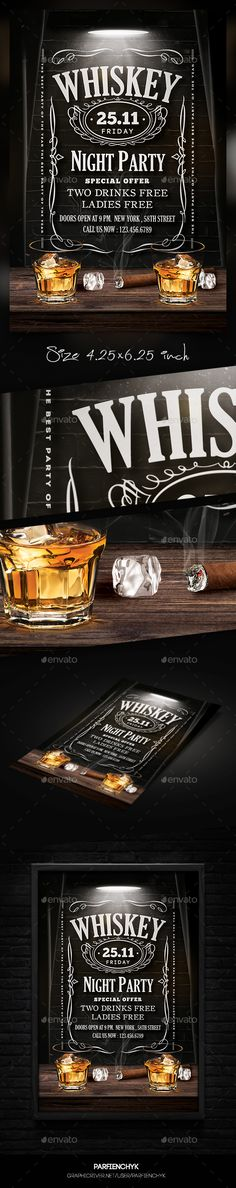 Whiskey Flyer — Photoshop PSD #night party #table • Available here → https://graphicriver.net/item/whiskey-flyer/17793461?ref=pxcr