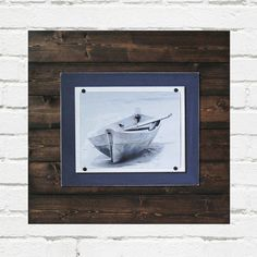 Dark Wood and Navy Blue 21x21 Plank Frame for by ProjectCottage