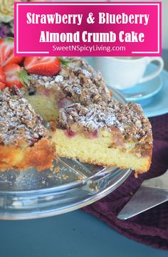 Strawberry & Blueberry Almond Crumb Cake Strawberry Blueberry, Cake Recipes, Almond, French Toast, Amp, Breakfast, Desserts, Summer, Food