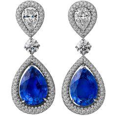 STEVEN FOX Diamond & Sapphire Drop Earrings at 1stdibs ❤ liked on Polyvore