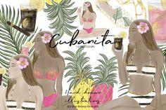 Summer Clip Art, Cubanita, Bikini Girls Fashion Illustration, Tropical Clipart, Glitter Graphics, Hand Drawn Clip Art, PNG, 300 DPI, Digital by DosBesosDesigns on Etsy