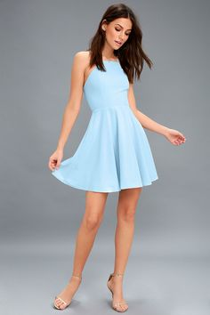 Call to Charms Light Blue Skater Dress 7