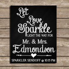 Let Love Sparkle Custom Printed Wedding Sign