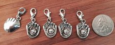 5 pcs ~ Baseball glove antique silver tone charms ready to hang with lobster clasps by BuildUrBling on Etsy