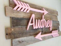 Nursery reclaimed wood name sign by BurnsWithInspiration on Etsy Arrow Nursery, Nursery Letters, Nursery Name, Girl Nursery, Girl Room, Baby Room, Nursery Room, Child's Room, Rustic Nursery Decor