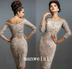 New Lace Mother of Bride Dress Off Shoulder 3 4 Long Sleeves Beach Evening Gown | eBay