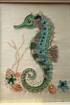 I ❤ embroidery . Seahorse embroidery~ A kit by rajmahal, I couldn't resist this seahorse embroidery. it just called to me it was so sparkly & wonderful! Took me about 3 weeks to do & was my first embroidery piece ever! ~By StitchingDreams Ribbon Embroidery, Beaded Embroidery, Cross Stitch Embroidery, Machine Embroidery, Embroidery Designs, Applique Designs, Zardozi Embroidery, Bead Embroidery Patterns, Crewel Embroidery