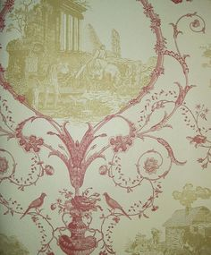 Toile design wallpaper depicting rural scenes in cream and pinky red