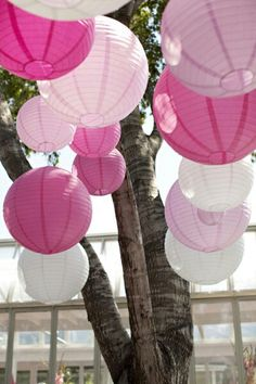 chinese lanterns on the way into the reception
