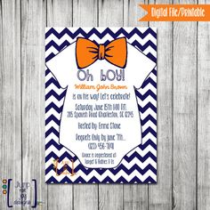 Oh Boy Baby Shower Invitation with Bow Ties by JumpForJoyDesigns, $17.00