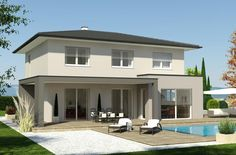 Homes Prefabricated home Styria, prefabricated home stable, prefabricated home turnkey, brick stable Interior Exterior, Exterior Design, Prefabricated Houses, Energy Efficient Homes, Modern Farmhouse Plans, Facade House, House Facades, House Exteriors, Roof Design