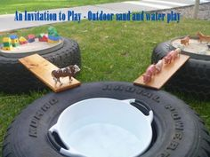 A huge collection of ideas and inspiration for reusing tyres in outdoor play creatively & safely. Save money on outdoor play equipment by upcycling! Project & safety tips included for early childhood educators and teachers. Outdoor Play Spaces, Kids Outdoor Play, Backyard Play, Kids Play Area, Outdoor Learning, Outdoor Education, Indoor Play, Backyard Games, Outdoor Games