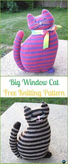 Amigurumi Big Window Cat Softies Toy Free Knitting Pattern - Knit Cat Toy Softies Patterns