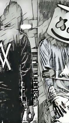 Alan Walker x Marshmello Dope Wallpapers, Gaming Wallpapers, Music Wallpaper, Iphone Wallpaper, Sketch Style, Allen Walker, Walker Art, Electronic Music, Anime Art
