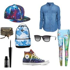 a blue day by onecoolone on Polyvore featuring polyvore fashion style New Look Converse Sprayground BKE Ray-Ban Lord & Berry
