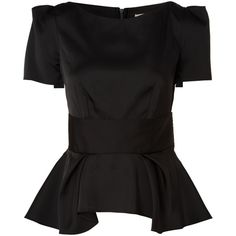 Almari Satin peplum top ($54) ❤ liked on Polyvore featuring tops, blouses, shirts, blusas, black, women, black satin shirt, black short sleeve shirt, black peplum top and black shirt